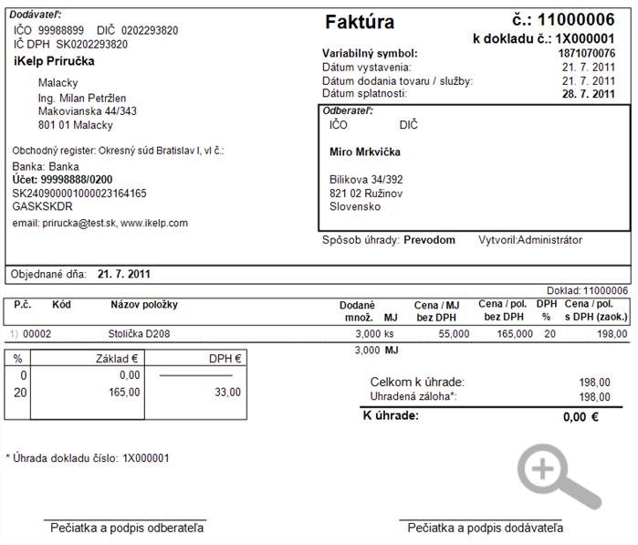 Finančné doklady - vytlačená faktúra, ktorá vznikla z preddavkovej faktúry