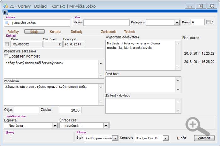 Modul Servis - úprava servisného dokladu - záložka Údaje