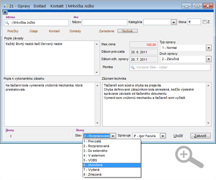 Modul Servis - úprava servisného dokladu - záložka Technik