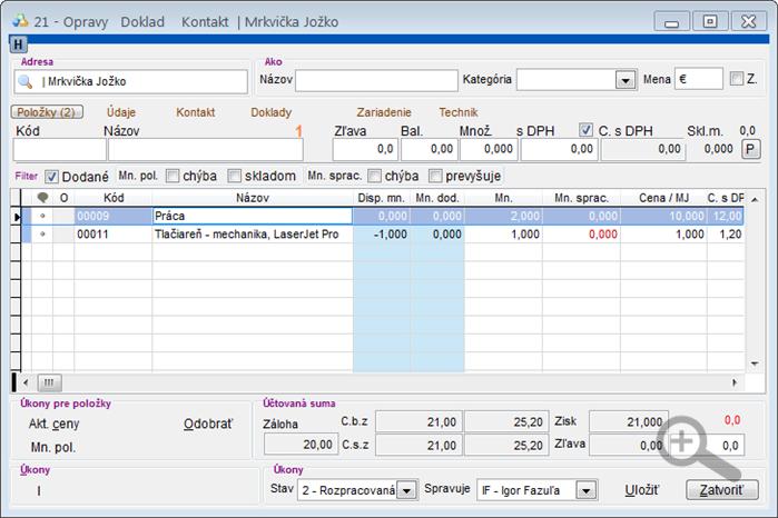Modul Servis - úprava servisného dokladu - záložka Položky