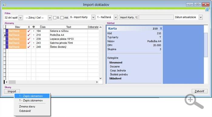Import skladových kariet do aplikácie v rámci aplikácie iKelp Predajca.