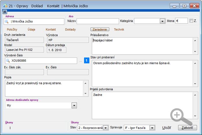 Modul Servis - úprava servisného dokladu - záložka Zariadenie