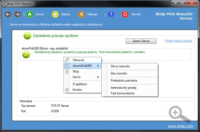 POS Manažér Server - základný formulár