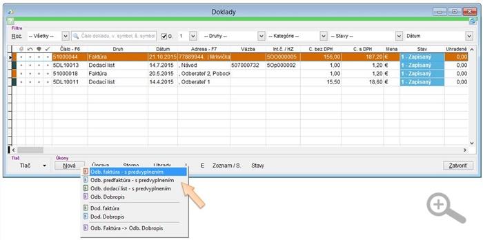 Vytvorenie kópie dokladu - dodací list, predfaktúra a faktúra