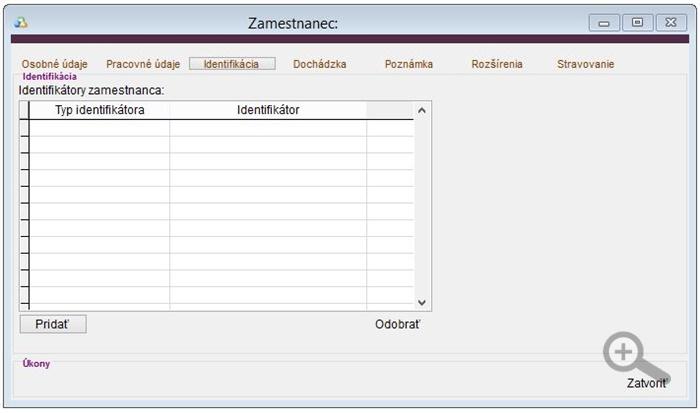 Údaje zamestnanca - Identifikácia