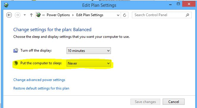 Power options Edit plan Settings